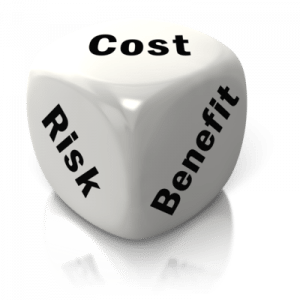 cost risk benefit white dice