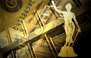 lady justice and cash