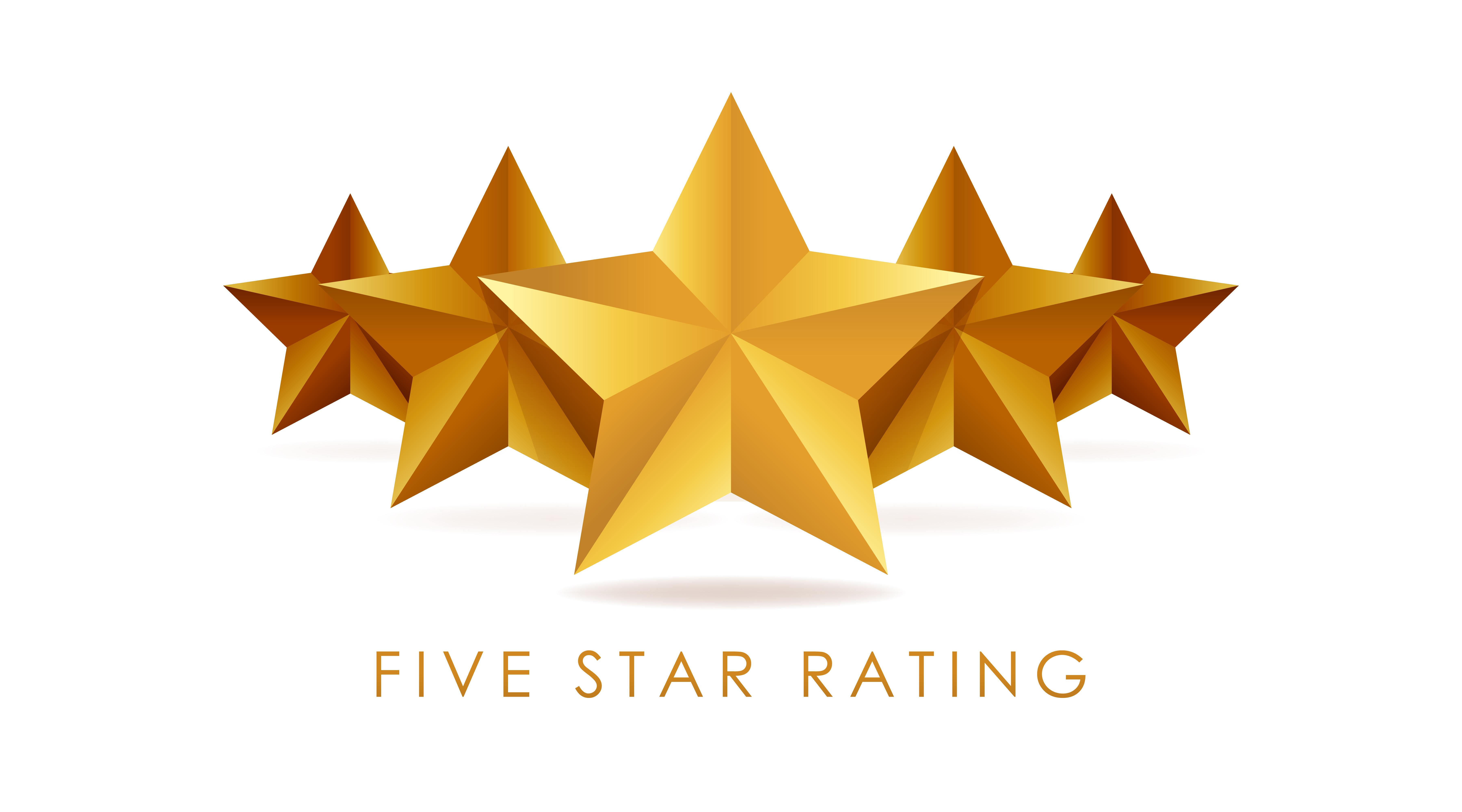 Five golden rating star vector illustration in white ... (7200 x 4000 Pixel)